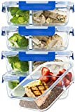 [LARGER PREMIUM 5 SET] 2 Compartment Glass Meal Prep Containers with Lifetime Lasting Snap...