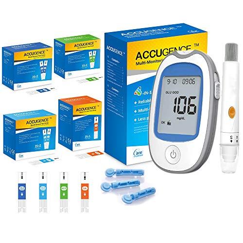 KONMED 4 en 1 Medidor multifunción Cetona en sangre Ácido úrico Glucosa en sangre (GOD y GDH) Kit de monitor Dispositivo de gota para diabetes con tiras reactivas y lancetas