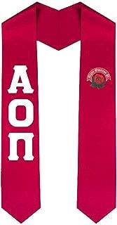 Alpha Omicron Pi AOII Greek Lettered Graduation Sash Stole With Crest