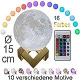 3D Mond Lampe 15cm mit Fernbedienung, Motiv 3D Mond, erhältlich in Ø 15 oder 20cm, 16 Farben. 10...