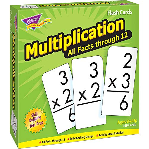 """TREND ENTERPRISES, INC. Multiplication 0-12 All Facts Skill Drill Flash Cards - Set of 169 Cards, 6"""""""" x 3"""""""" x 6.5"""""""""""" (53203)"""