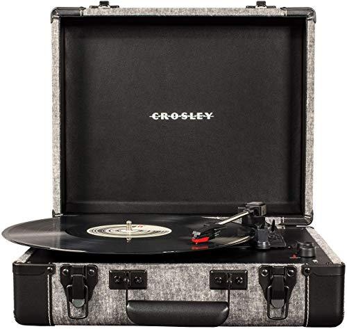 Crosley Executive Vintage Bluetooth 3-Speed Portable Suitcase Turntable with USB, Smoke (Renewed)