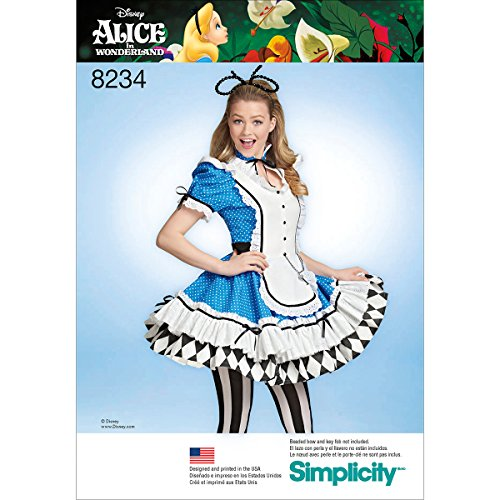 Simplicity patroon 8234 patroon Alice in Wonderland Cosplay kostuum, wit