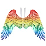Amosfun Carnival Bird Wings Costume Angel Wings with Elastic Straps Rainbow Wings for Kids Women Men Carnival Costume Party Supplies