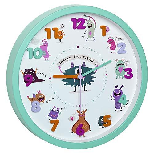 TFA Dostmann 60.3051 Kinder Wanduhr Motivuhr Kinderuhr Sweep-Uhrwerk (Türkis mit Batterien)
