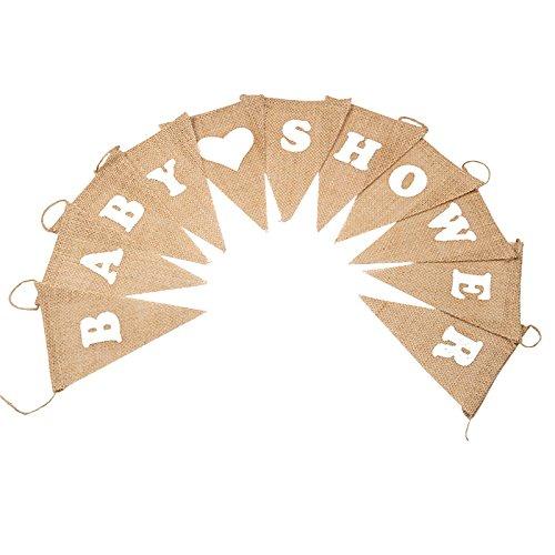 G2PLUS Schöne Leinen Wimpel Hessischen Girlande Vintage Rustikal Süße Bunting Wimpelkette Farbenfroh Wimpeln für Babydusche(Baby Shower)