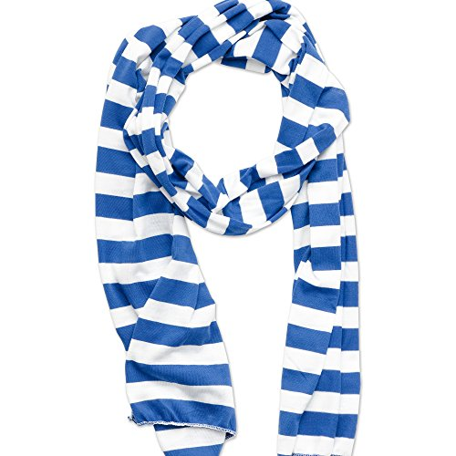 Tickled Pink Women's Game Day Sports Team Apparel Scarf or Wrap, Jersey Stripe, Royal Blue, 14 x 75'