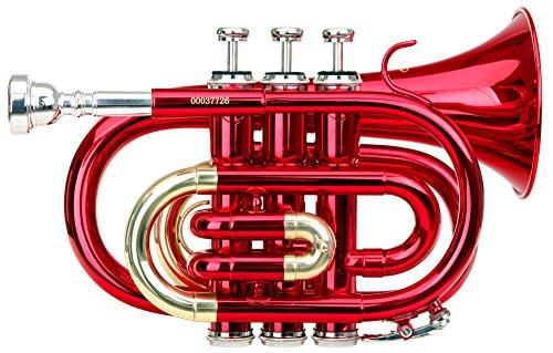 Classic Cantabile Brass TT-400 Bb-Taschentrompete (Messing, Schallbecher Durchmesser: 93 mm, Bohrung: 11,8 mm, Stimmung: B, inkl. Leichtkoffer, Mundstück, Putztuch, Handschuhe) rot