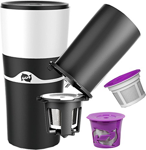PureBlue Brew - Travel Mug & Pour Over Coffee Dripper – Compatible with K Cup Filter (BLACK)