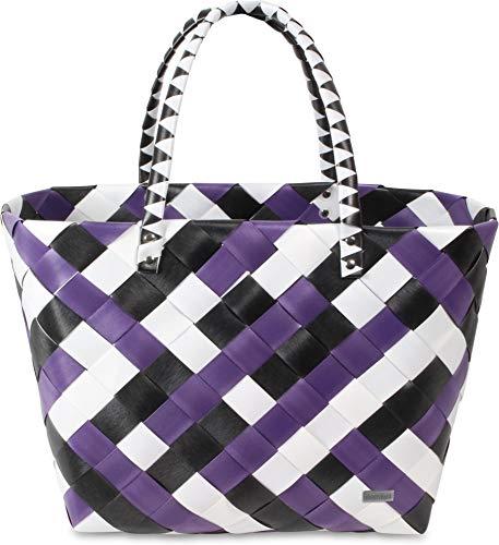 normani® Einkaufstasche Shopper geflochten aus Kunststoff - robuster Strandkorb Vintage Style 38cm x 25cm x 28cm Farbe Visual Stripe/Purple Ratan