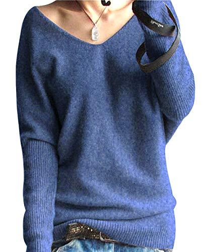 PHELEAD Damen 100% Merinowolle Winterpullover Damen V-Ausschnitt Loose Fledermaus?rmel Strickpulli Oversized Pullover Damen Sexy Warm Sweater (M, Flower Blue)