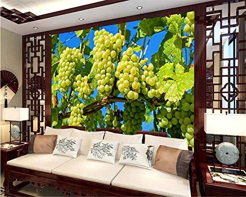 ZJfong Aangepaste Behang HD Druif Fruit Blauwe Hemel Achtergrond Woonkamer Slaapkamer TV Sofa Achtergrond Mural Foto 3D 220x140cm