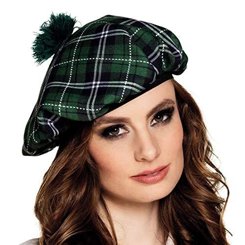 NET TOYS Karierte Baskenmütze mit Bommel - Grün-Schwarz - Außergewöhnliche Unisex-Kopfbedeckung Schottische Barett Mütze - Genau richtig für Karneval & Mittelalterfest