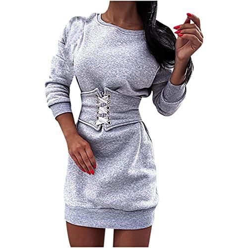Masrin Damen Sweatshirt Kleid Sexy einfarbiges Minikleid A-Linien-Kleid mit Taillenband Age Langärmliges Minikleid mit O-Ausschnitt Herbst-Winter-Pulloverkleid