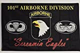 mws Black Army 101St Airborne Division Screamin Eagles Flag 3 X 5 House Banner Grommets Double Stitched Fade Resistant Premium Quality