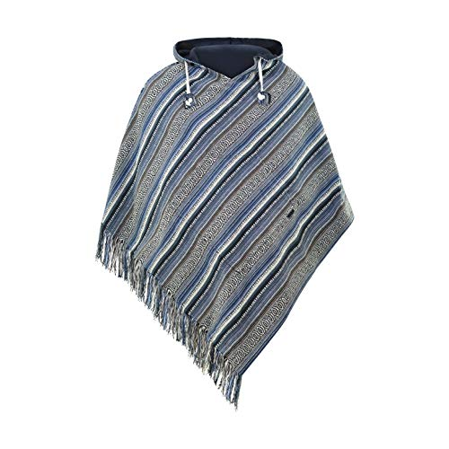 virblatt - Poncho Herren Baja Hoodie goa Jacke Jerga Ethno Pullover Alternative Kleidung Hippie Look - abajo Blue