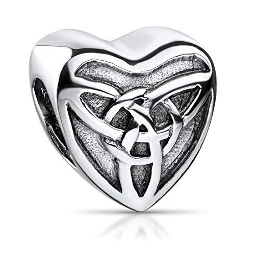 MATERIA 925 zilver bead hart met symbool Keltische knoop - antiek zilveren kralen hart element voor kralen armbanden & kettingen #352