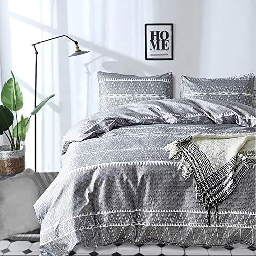 "Grey Comforter Set Queen, Soft Microfiber Reversible Boho Striped Down Alternative Comforter Set for All Seasons - 3 Pieces (1 Solid Comforter + 2 Pillow Shams), Filling Duvet Bedding Set 90""x 90"""
