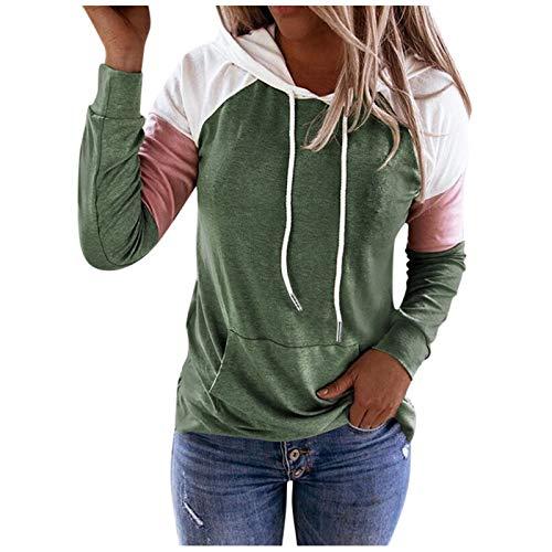 VEMOW Sudadera con Capucha para Mujer Mangas largas, 2021 Nuevo Elegantes Moda Cordón de Costura Pullover Blusas Camisetas Chica Baratas Tallas Grandes Standard Hoodie(Verde,S)