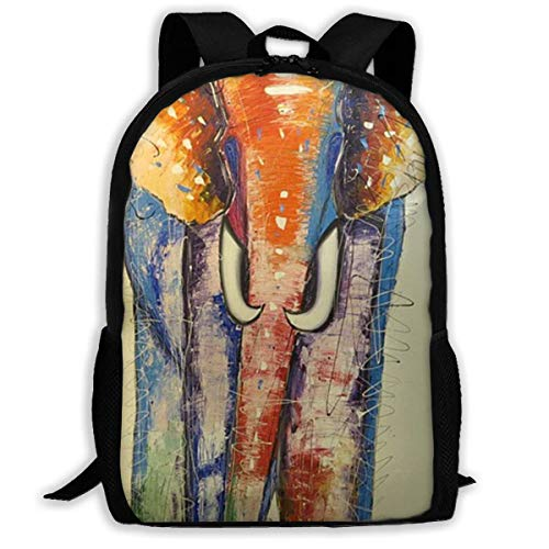 XCNGG Elephants Painting Printed Travel Backpack,Waterproof Lightweight Laptopbag Have Two Side Pockets