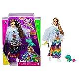 Barbie Extra Muñeca morena articulada con vestido arcoiris, accesorios de moda y mascota (Mattel GYJ78)