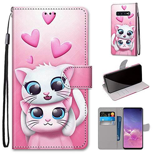 Miagon Flip PU Leder Schutzhülle für Samsung Galaxy S10e,Bunt Muster Hülle Brieftasche Case Cover Ständer mit Kartenfächer Trageschlaufe,Katze Liebhaber