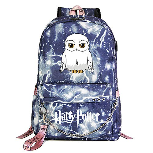 Zaino per il tempo libero di Hogwarts Backpack Zaino Harry Potter Blue Lightning , con borsa di scuola con interfaccia di ricarica USB style-13