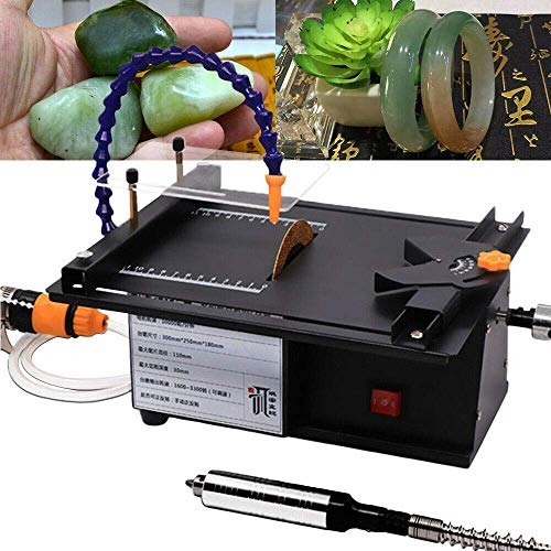 Jewelry Polishing Machine, 1600-3300 RPM Adjustable 7-Speed Multifunctional Jewelry Polishing Table Saw with Water Cooling Tube Polisher for Gem Wood Green Pine
