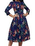 JOJJJOJ Abito da Donna Vintage Anni '50 con Abiti da Cocktail, Abiti Vintage retrò, Elegante Abito da Sera a Mezza Manica 3/4 (Colore : Navy Blue, Size : S)