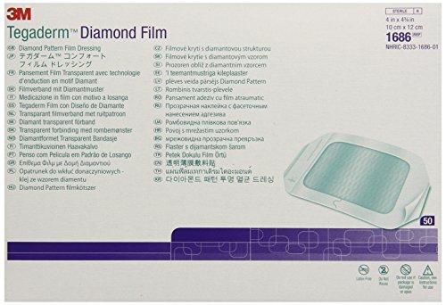 3M Tegaderm Diamond Pattern Film Dressing 1686, 4 Inch x 4-3/4 Inch, 50 Each/Carton, 4 Cartons/Case