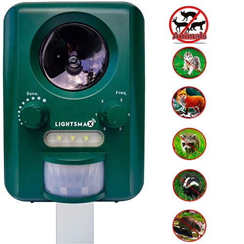 LIGHTSMAX Solar Ultrasonic Animal & Rodent Repeller | Waterproof Sonic Animal Repellent | Repel Rodent & Pest Repeller Cats, Dogs, Mice, Rabbits, Squirrels  Motion Activated with Flashing LED Light
