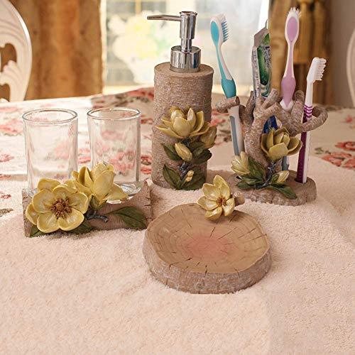 AMYZ Dispensador de jabón Juego de Accesorios de baño de 4 Piezas de Resina - Viento de jardín - Tallado estéreo 3D,Hogar,Portacepillos de Dientes,Portavasos,Caja de jabón