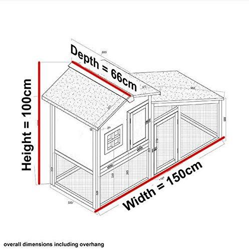 FeelGoodUK BUNNY ARK - Hybrid - Double Tier Rabbit Hutch Guinea Pig House Cage Pen House Home (RH10)