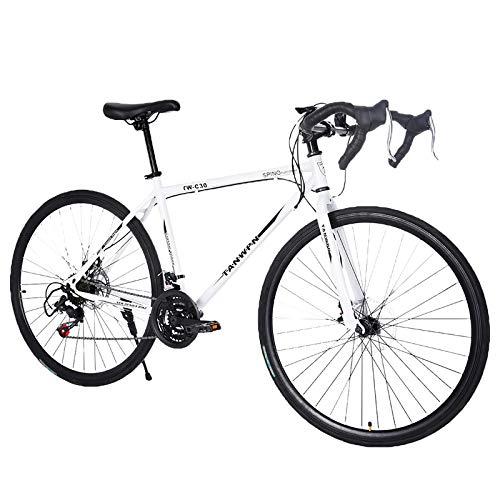 Tengma Road Bike Aluminum 700C Wheels 21 Speed Dual Disc Brakes Full Suspension 26 inch Road Bicycles with Simanos Aluminum Frame for Men Women