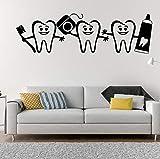 Etiqueta De La Pared Pegatinas Calcomanías Dibujos Animados Pasta De Dientes Cepillo De Dientes Feliz Dentista Clínica Dental Hospital Odontología Cuidado Vinilo 90 × 26 cm
