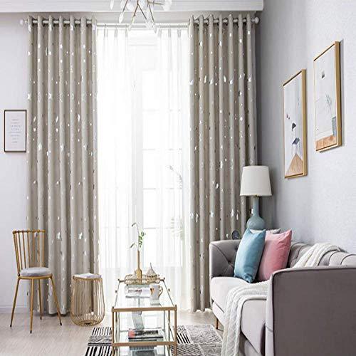 CXL Vorhänge voller Schatten Sterne Mond Schlafzimmer Wohnzimmer einfache Wärme und Licht blockierende Vorhänge-beige
