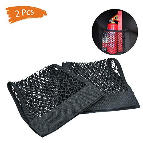 NATEE 2 Stück Gepäcknetz, Netztasche Kofferraumnetz Aufbewahrungnetz Schutznetz aus Nylon, Kofferraum Organizer mit Klettverschluss, 25 x 50cm