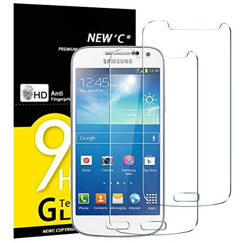 NEW'C PanzerglasFolie Schutzfolie für Samsung Galaxy S4 Mini, [2 Stück] Frei von Kratzern Fingabdrücken und Öl, 9H Härte, HD Displayschutzfolie, Displayschutzfolie Samsung Galaxy S4 Mini