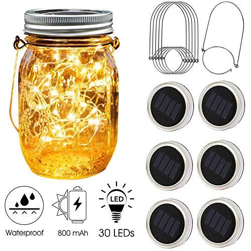 [Upgraded] Solar Mason Jar Lid Lights 30 LEDs - 800mAh Battery| Outdoor Decor, Patio Garden Decor, Solar Lantern Table Light| 6-Pack Hangers| Lids String Fairy Firefly Lights/No Jars | Christmas gifts