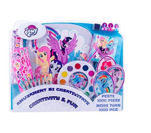 1000 Teile - großes Set - Unicorn Pferd Horses Einhorn My Little Pony - Malset - zum Basteln Sammeln oder Malen / Wachsmalstifte / Aquarellfarbe - Stempel Set Stickers + Sticker-von-Kids4shop