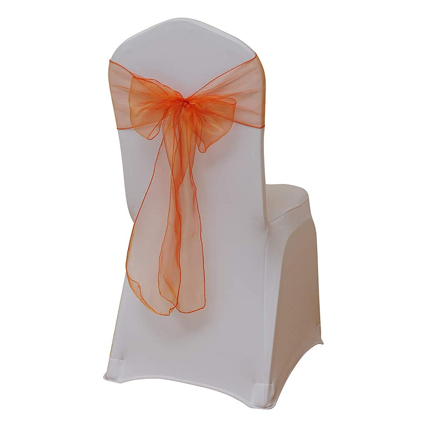 Hohaski 5 PCS Solid Color Flower Chair Back Band Covers, Organza Chair Sashes Bow Sash for Wedding and Events Supplies Party Decoration Chair Cover Sash (Orange) stpjlmixlwg988