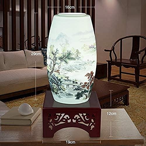 ZJJZ Lámpara de Mesa con Botella de cerámica Tallada, lámpara de Mesa...