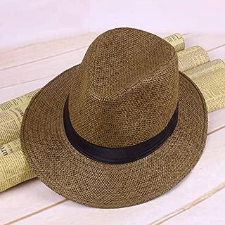 Sincrystal Men Straw Panama Hat Handmade Cowboy Cap Summer Beach Travel Sunhat