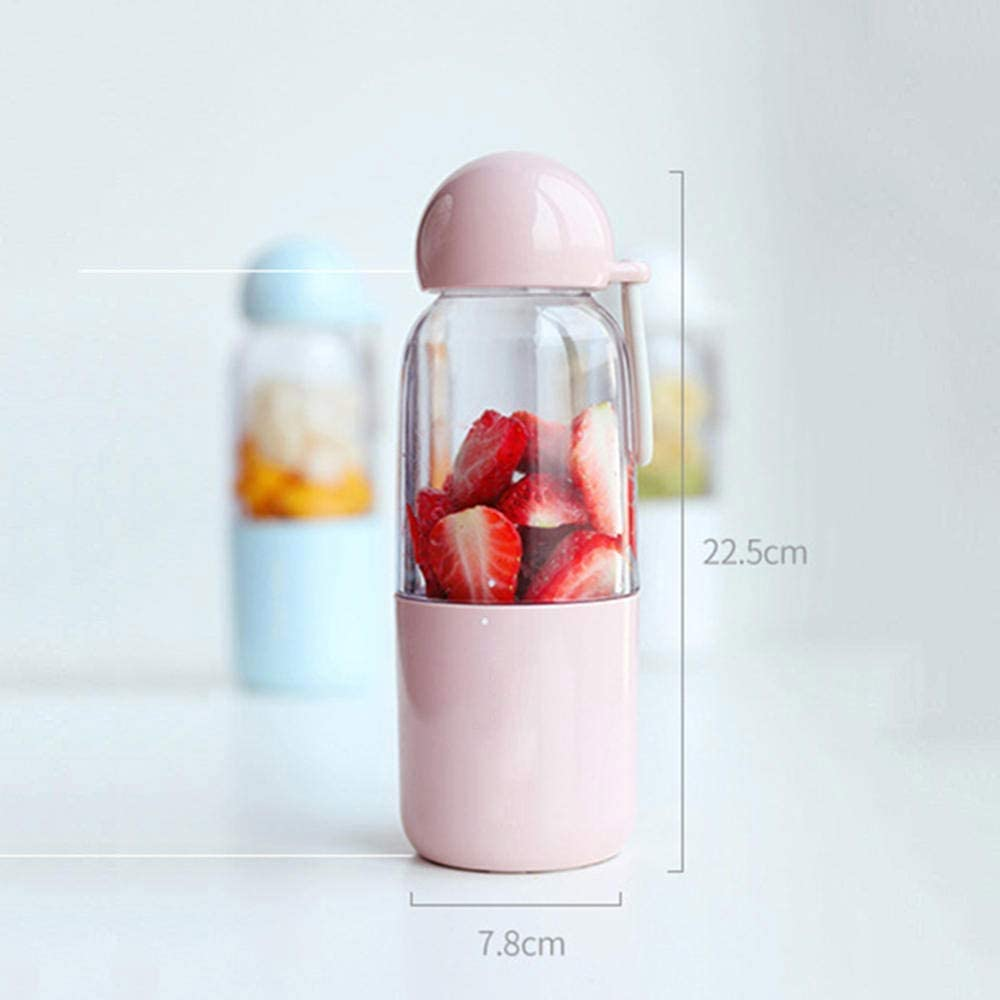 Presse-agrumes mastiquer Juicer - Blender Portable, Smoothie Personal Mini Cup Juicer, Fruit mélange Machine, 7.8x22.5cm (Color : Blue) Pink