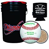 Diamond Sports D-OB Baseballs in 6-Gallon Ball Black Cushion Lid Bucket 30 Balls with Rods Insulated Can Sleeve