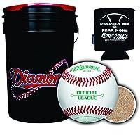 Diamond Sports D-OB野球ボール 6ガロンボール ブラック クッション蓋バケツ 30ボール ロッド付き 断熱缶スリーブ