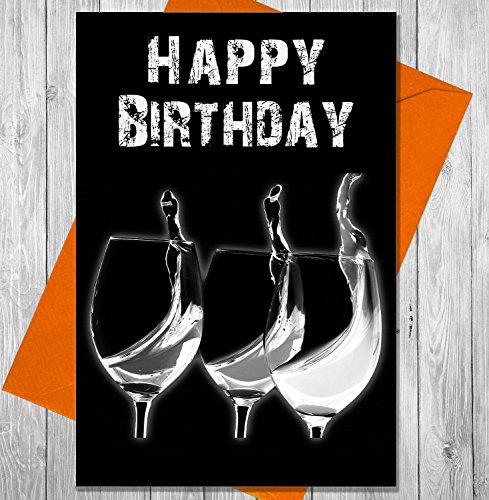 Verjaardagskaart 3 glazen wijn - Unieke Krijtbord Effect Wenskaart