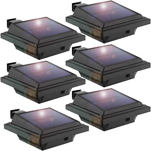 LED Solar Dachrinnenleuchte, KEENZO Solarlampen für Außen, 25LEDs Solarlicht, Auto ON/OFF, Schwarz,Kaltweißes Licht (6er set)