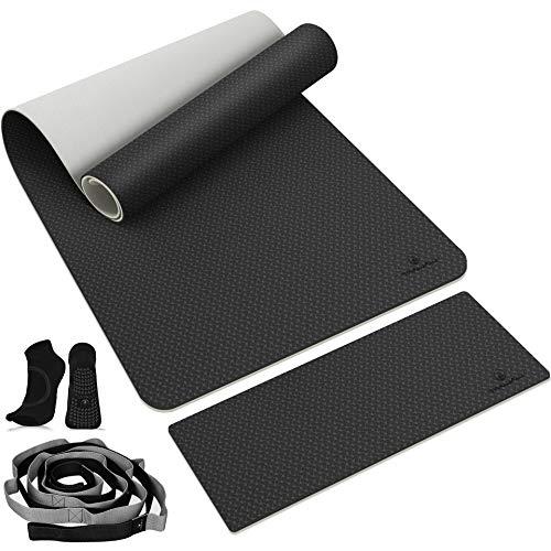 "TANJALI Yoga Mat, 72"" x 26"" x 1/3"" Extra Thick Yoga Mat Non Slip, TPE Yoga Mats for Women Eco Friendly, Exercise Mat Set with Knee Pad, Stretch Strap, Yoga Socks, Yoga Mat Strap"