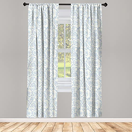"""Ambesonne Floral Curtains, Flower Orchids Bohemian Style Vintage Petals Vines Pattern French Country Style, Window Treatments 2 Panel Set for Living Room Bedroom Decor, 56"""" x 63"""", White Blue"""